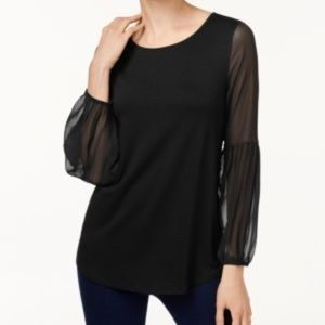 NWT! Vince Camuto Chiffon-Sleeve Top Black